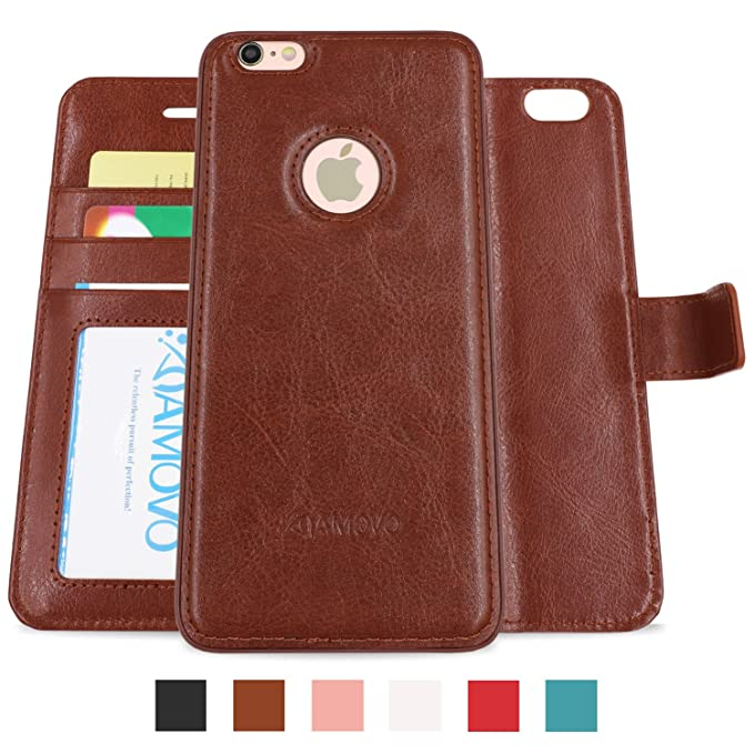 official photos 301ce 14ac9 AMOVO Case for iPhone 6 Plus [2 in 1], Vegan Leather 2 in 1 Folio  Detachable Wallet Case with Box for iPhone 6 Plus/iPhone 6s Plus case  (iPhone 6 ...