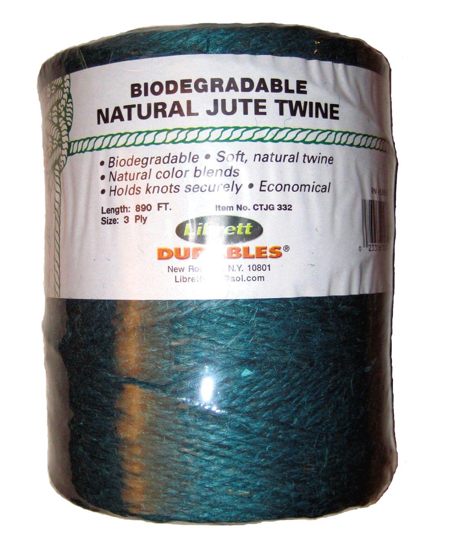 Librett Biodegradable Green Natural Jute Twine, 890 FT - 65oz - 3 Ply by Librett