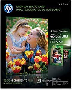 HP Q8723A Everyday Photo Paper, Glossy, 8-1/2 x 11, 50 Sheets/Pack