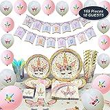 WERNNSAI Conjunto de Suministros de Fiesta de Unicornio - Cumpleaños para Niñas Bolsa de Cubiertos Mantel Platos Servilletas Pancartas Globos Tazas Utensilios Sirve a 16 Invitados 169 Piezas