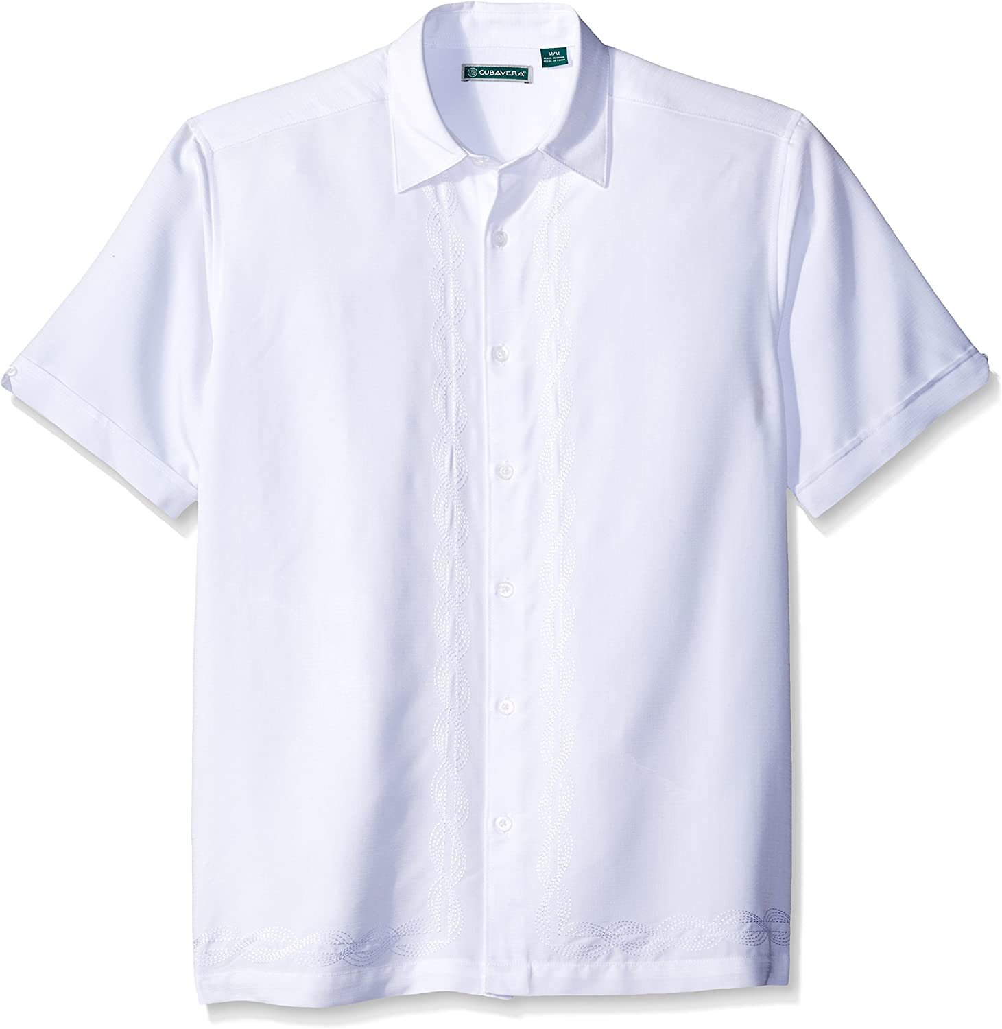 Cubavera Mens Short Sleeve Polyester Shirt with Two Top Pockets and Tuck Details