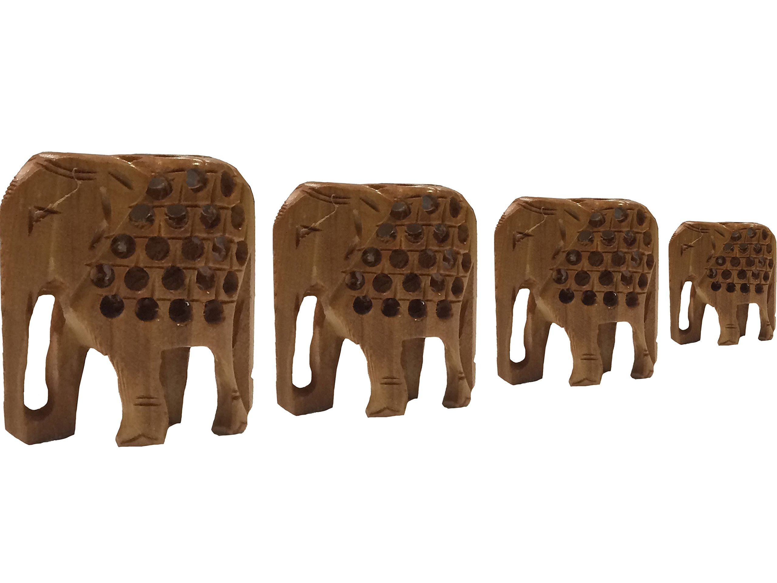 Valentine Day Special Gift, Wooden Elephants &Net Design - Set of 4. Ornament Heights 7 / 6 / 5 / 4 Wooden Carving Elephant, Handcrafted Wooden Elephant, Wood Sculpture Hand Work, Brown Color