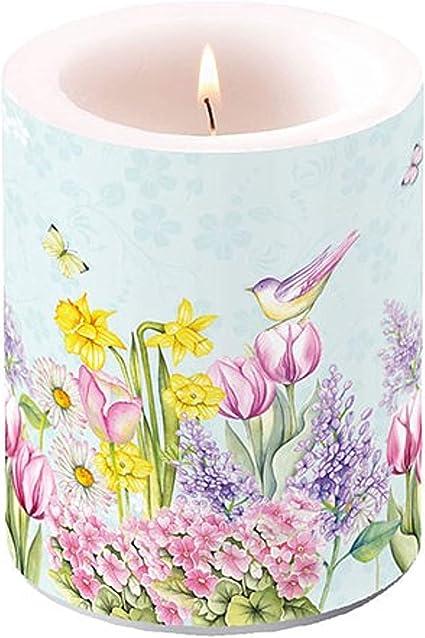 Ambiente Luxury Paper Products Stumpenkerze Blooming Garden Vogel Blumen Osterglocken Kerze Tischdeko Kerzendeko Küche Deko Frühling Ostern Küche Haushalt