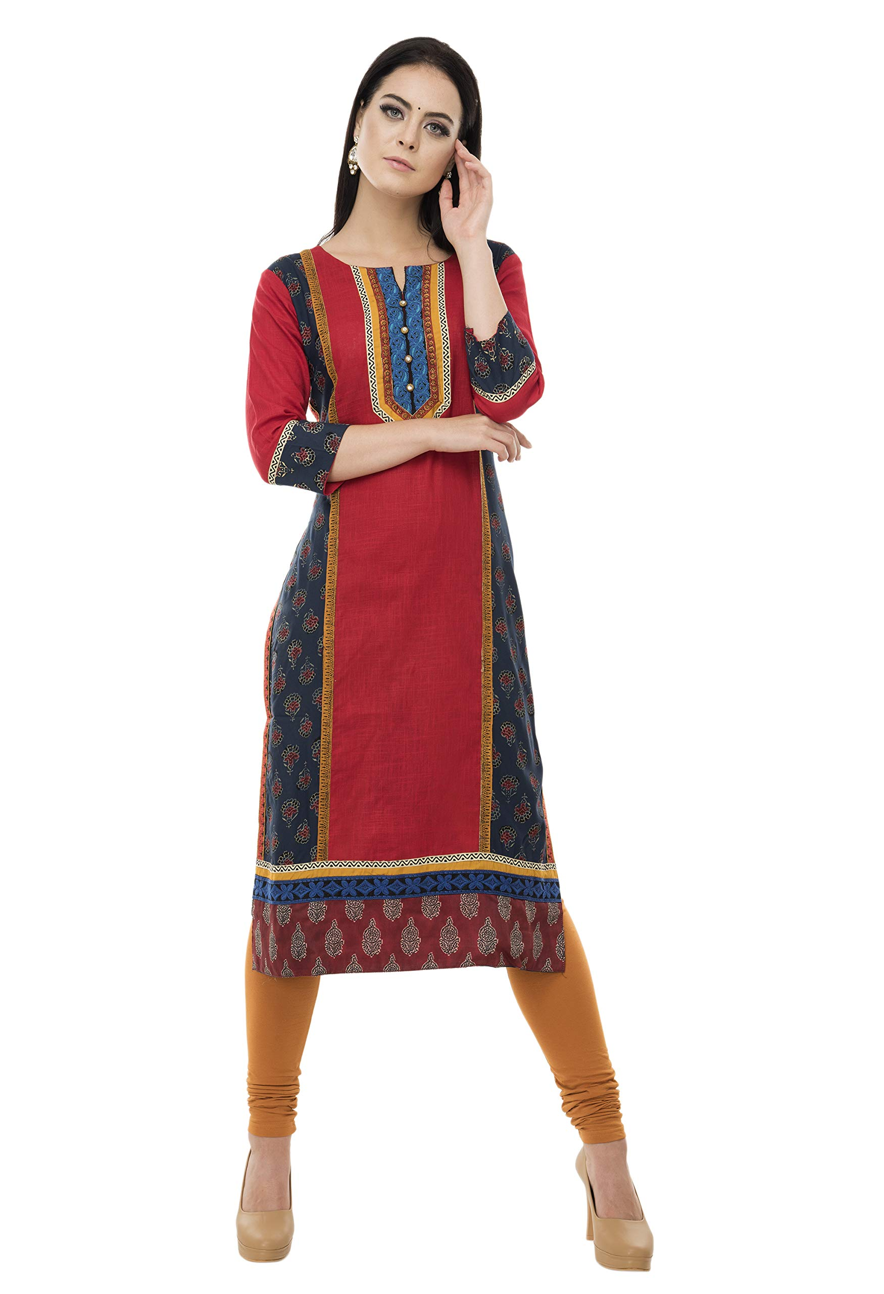 SABHYATA Womens Kurta Indian Kurtis Women Cotton Casual Tunic Top Long Dress X-Large RED