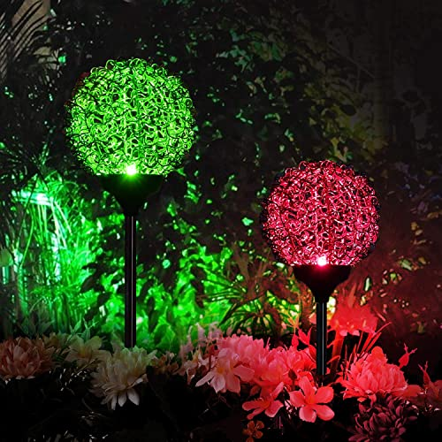 2PCS Solar Lights Outdoor – New Upgraded Magic Globe Garden Light, Multi-Color Changing Solar Stake Lights for Patio,Yard Decoration