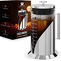 Cafe du Chateau Cold Brew Coffee Maker - 34 Ounces - 304 Grade Stainless Steel Filter - Borosilicate Glass Body - Iced…