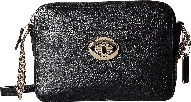 b3d8af70e94 COACH Women's Pebbled Leather Turnlock Camera Bag LI/Black Cross Body:  Handbags: Amazon.com