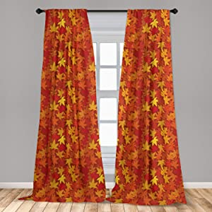 Ambesonne Orange Curtains, Colorful Autumn Fall Season Maple Leaves in Unusual Designs Nature Print, Window Treatments 2 Panel Set for Living Room Bedroom Decor, 56