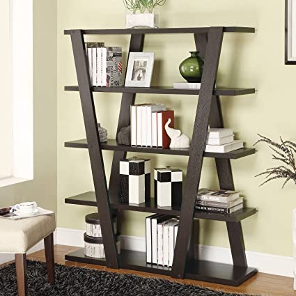 Amazon.com: Contemporary Leaning Ladder Bookcase with Five ...