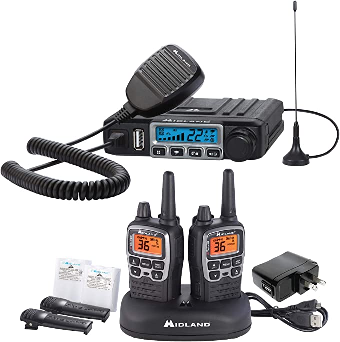 Midland - MXT115AG, MicroMobile Farm Radio Bundle - MicroMobile MXT115 15 Watt GMRS Two-Way Radio w/External Magnetic Mount Antenna & X-TALKER T71VP3 Two-Way Radio w/ 121 Privacy Codes (Pair Pack)