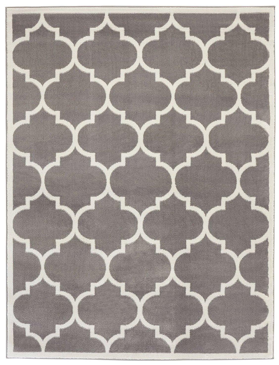 Sweet Home Stores Clifton Collection Light Grey Moroccan Trellis Design (8 x 10) Area Rug.