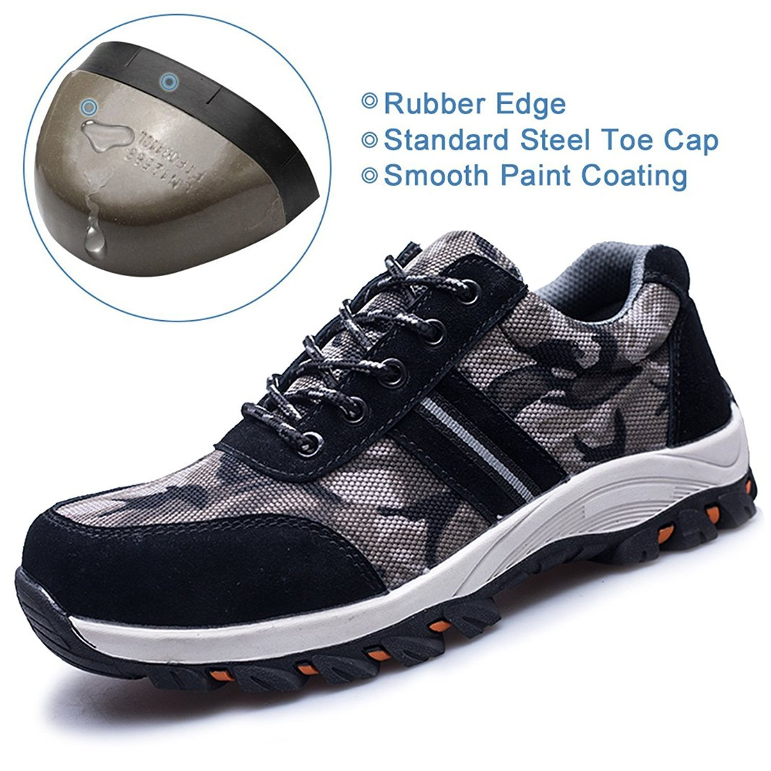 TQGOLD Work Safety Shoes Steel Toe Shoes Composite Protect Toe for Men Women Industrial&Construction(Size 42, Gray) by TQGOLD (Image #2)