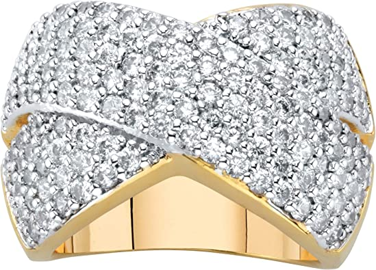 Palm Beach Jewelry 14K Yellow Gold Plated Emerald Cut and Round Cubic Zirconia Eternity Ring