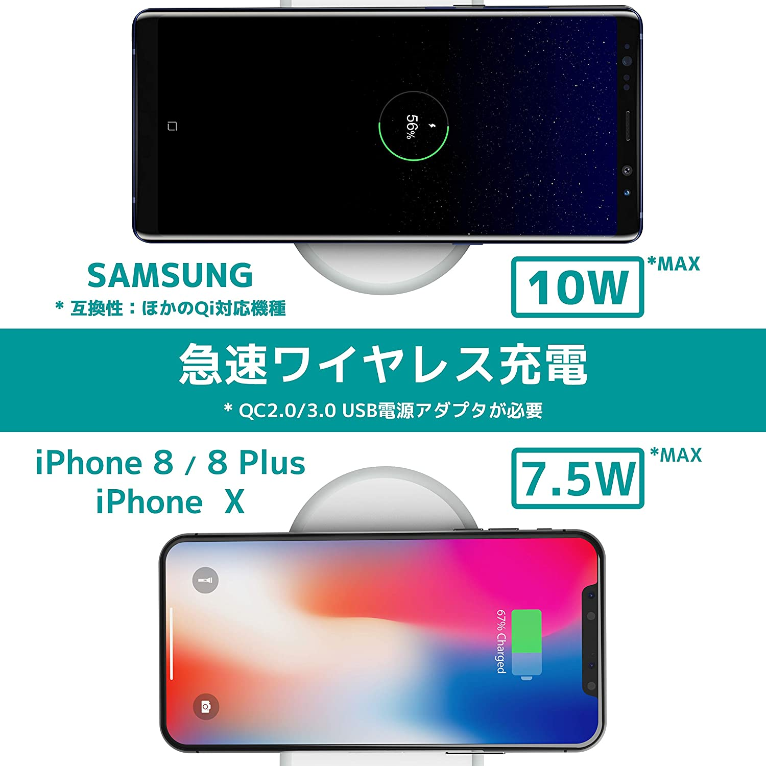 2in1ワイヤレス充電パッド