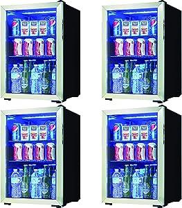 Danby 95 Can Free Standing Beverage Center Mini Fridge w/ Glass Door (4 Pack)