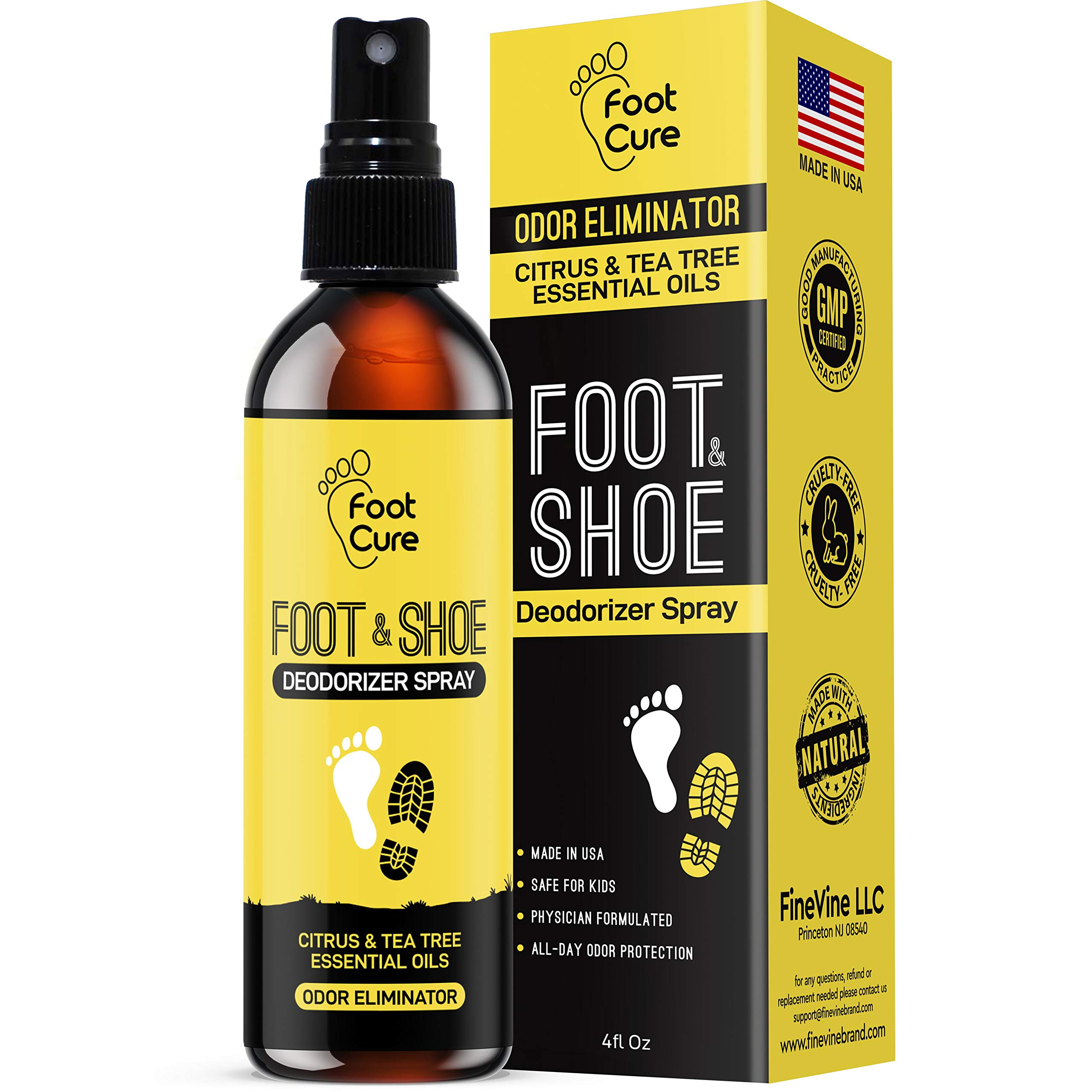 All Natural Tea Tree Oil & Citrus Shoe Deodorizer| Shoe Spray Eliminates Odor Causing Germs Leaving You Fresh| Shoe Spray Deodorizer Made in USA| Foot Spray for All Shoe Types| Foot Deodorant Spray by FOOT CURE