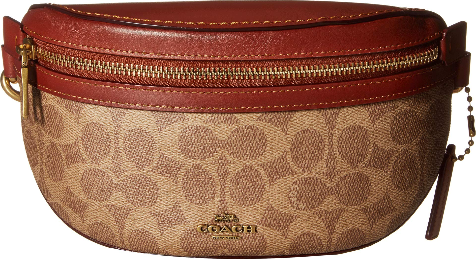 COACH Women's Coated Canvas Signature Belt Bag B4/Tan Rust One Size