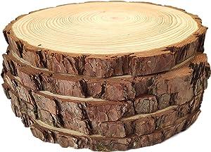 Natural Wood Slices Round Pine Wood Slabs 5 Pack Round Rustic Woods Slices 9