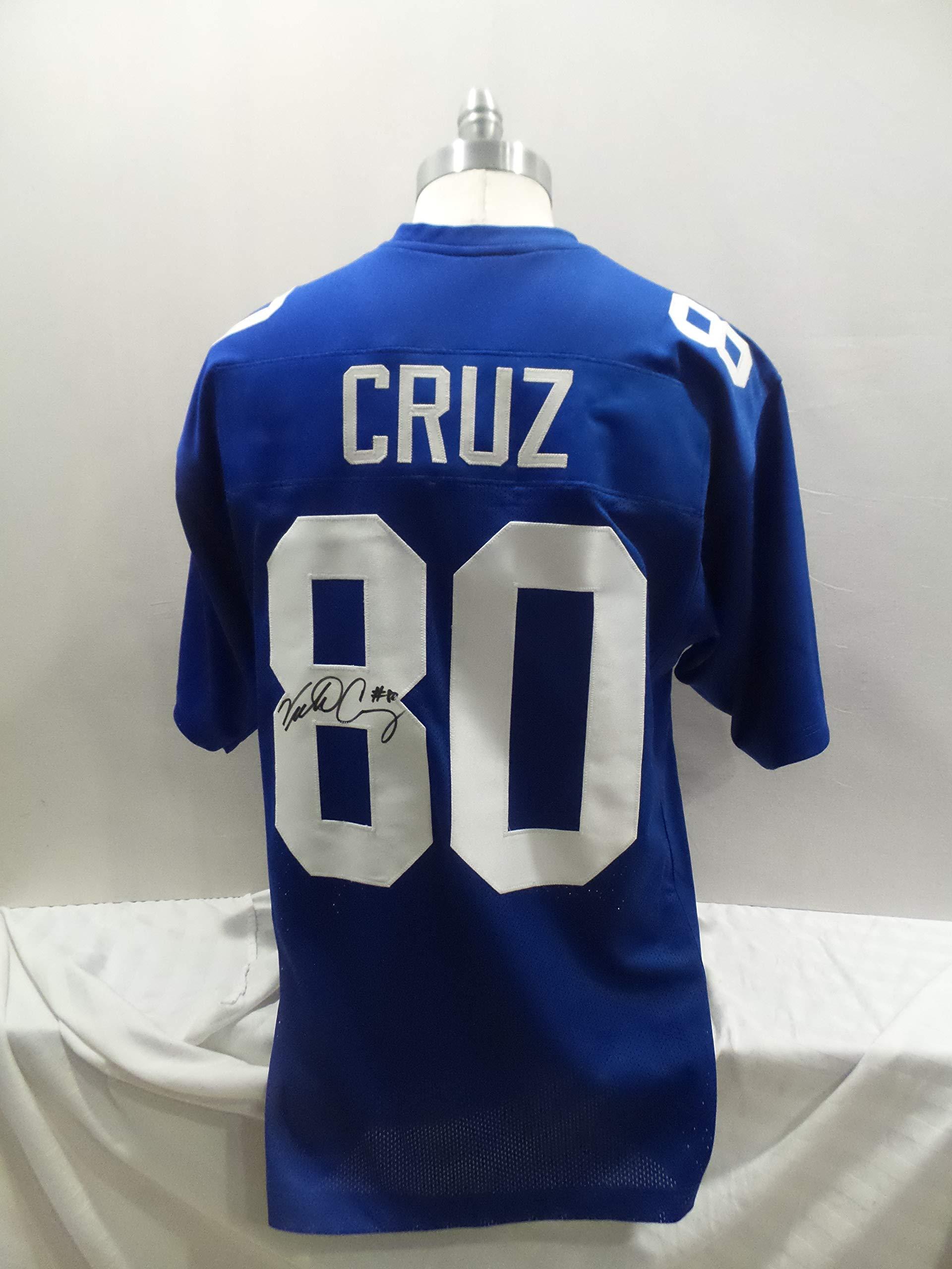 Victor Cruz Signed New York Giants Blue Autographed Custom Men XL Jersey HOF