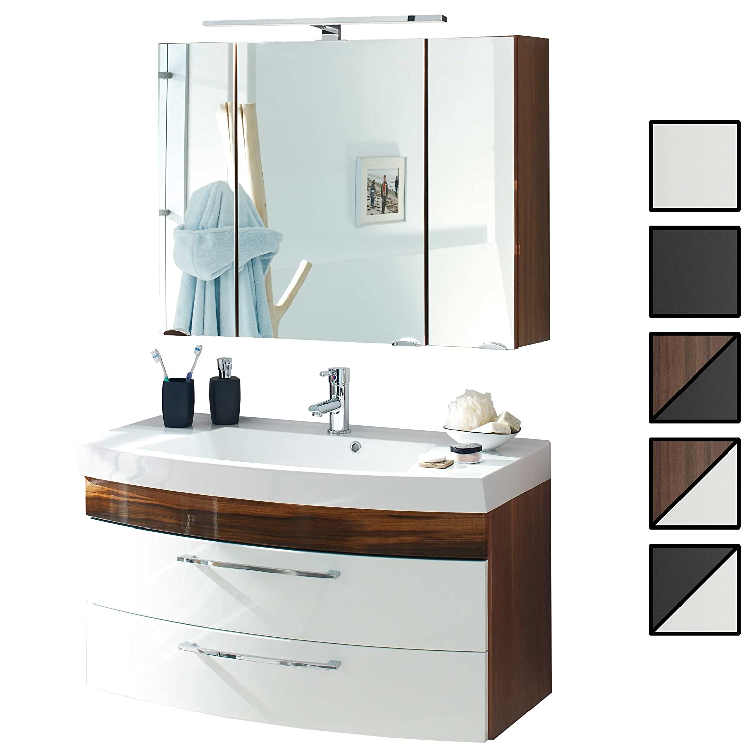 Badmobel Set Verona Xl Anthrazit 5 Tlg Spiegelschrank 90 Cm Led