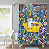 Yellow Submarine Shower Curtain Colorful Marine Life Bathroom Curtain Supplies 72x72in Washable Polyester with 12 Hooks YLDSG