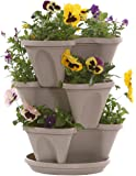 Nancy Janes P1360 12-inch Stacking Planters with Patented Flow through Watering System and Hanging Chain, Stone, Set of 3