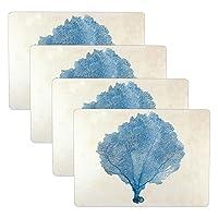 Cork Placemats: Set of 4 Heat Resistant Blue Sea Fan Cork Backed Placemats - 16