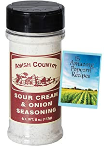 Amish Country Popcorn | Sour Cream and Onion Popcorn Seasoning - 5 oz | Old Fashioned with Recipe Guide (5 oz)