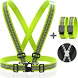 Reflective Vest Straps NEW Premium Design + 1 Pair of High Visible Bands for Arm / Wrist / Ankle | Safety Gear for Running, Walking, Jogging, Cycling, Workers, Motorcycle