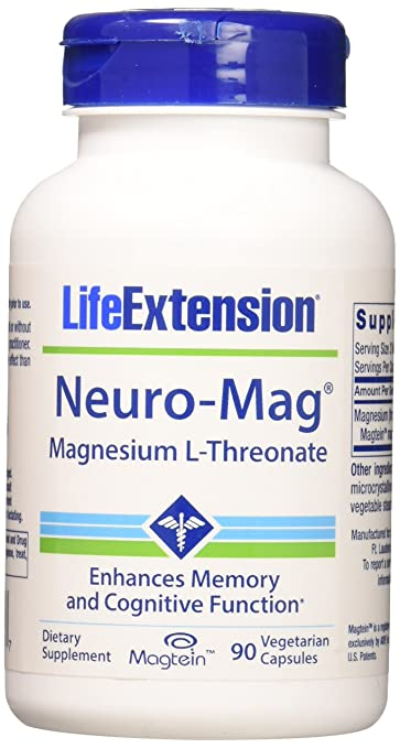 Life Extension Neuro-mag Magnesium L-threonate Dietary Supplements, 90  Capsules, Pack