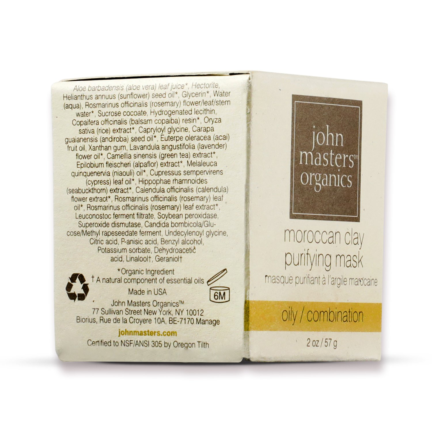 John Masters Organics – Moroccan Clay Purifying Mask – Natural Face Cleanser to Remove Oil Dirt without Over Drying for Oily Combination Skin – 2 oz