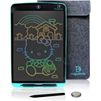 """DoogleBooks® 12-Inch Colourful LCD Writing Board - Portable LCD Tablet - Electronic Writing Drawing Board - E-Writer for Kids with 2 Batteries, 2 Styluses, Sleeve & More """"UK Safety Approved"""" (Blue)"""