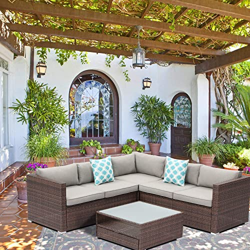 SUNBURY 4-Piece Outdoor Sectional Natural Wood Color Wicker Sofa Patio Furniture Set w 2 Blue White Plaid Pillow