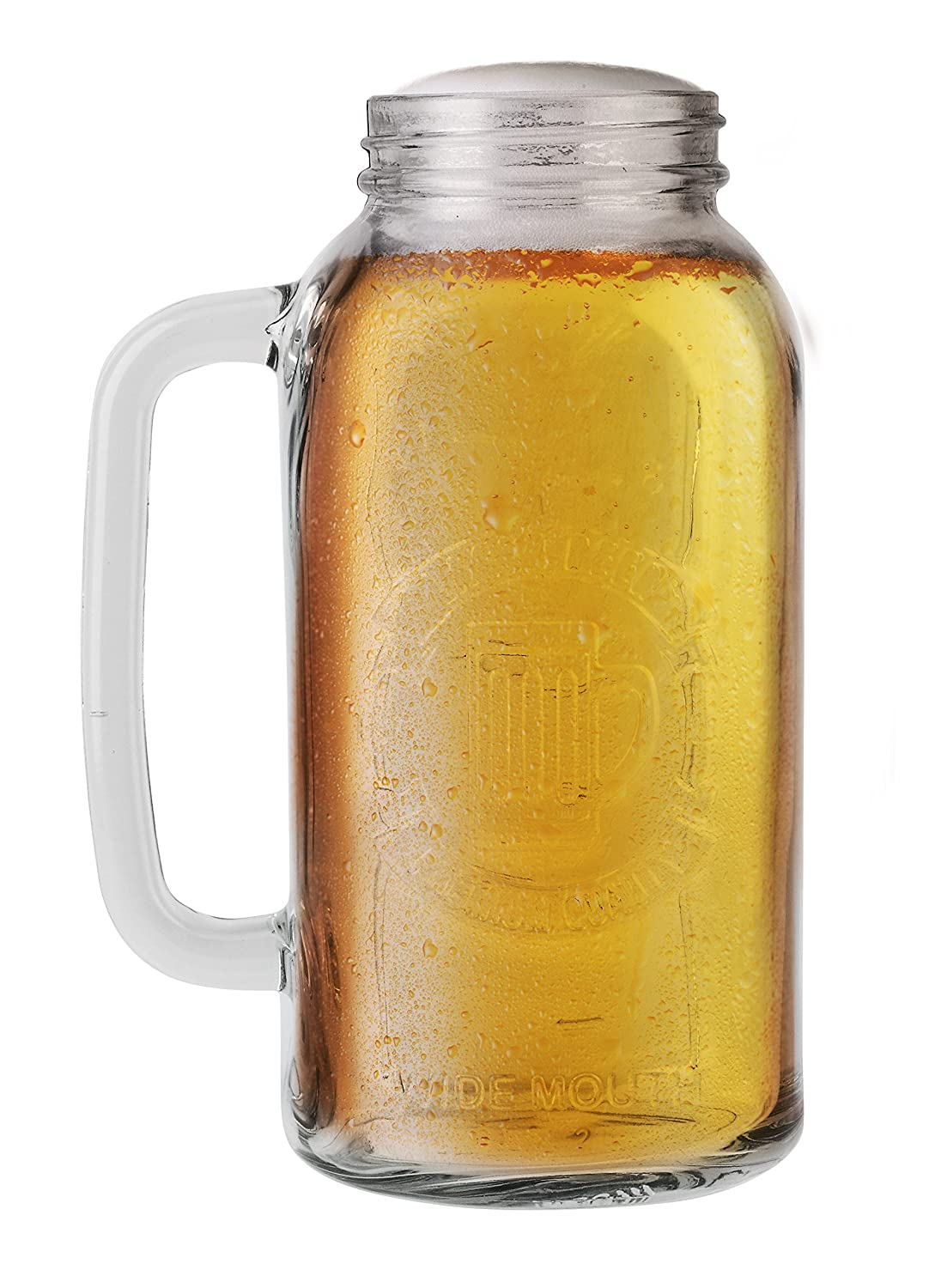 amazoncom barbuzzo mason beer stein halfgallon the perfect gift for your favorite beer lover authentic vintage mason style look durable - Mason Jar Glasses