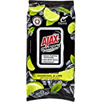 Ajax Multipurpose Antibacterial Wipes Plant Based Charcoal and Lime, 110 Pack