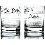 Greenline Goods Whiskey Glasses – United States Constitution (Set of 2) | 10 oz Tumblers - American US Patriotic Gift Set | O