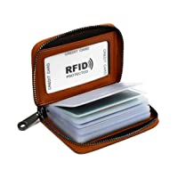 Lacheln RFID Blocking Credit Card Organizer Wallet Genuine Leather Zipper Security Travel Small Money Holder 20 Card…