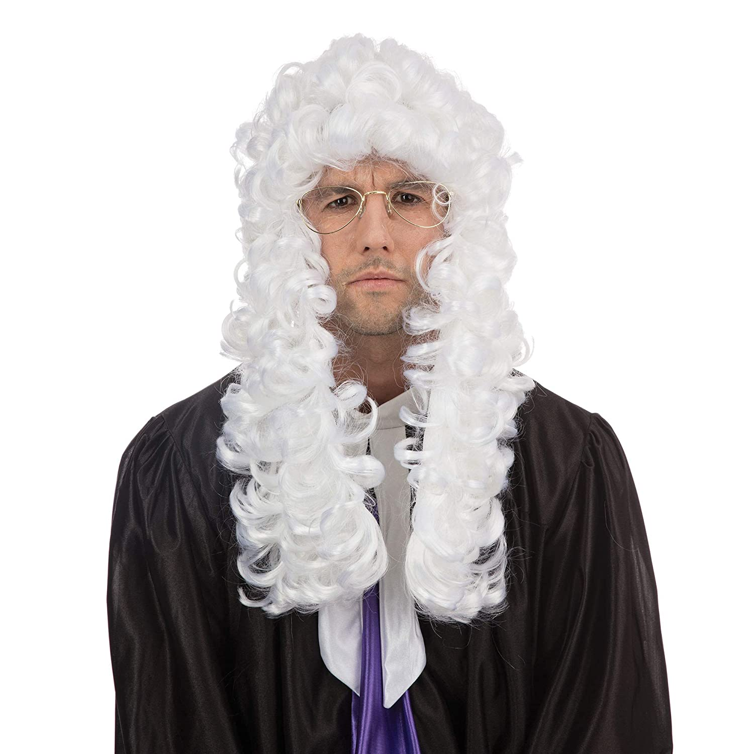 NEW WHITE JUDGES WIG COURT FANCY DRESS UNISEX (peluca): Amazon.es ...