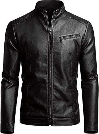 Next Class Mens Stylish PU Leather Moto Jacket