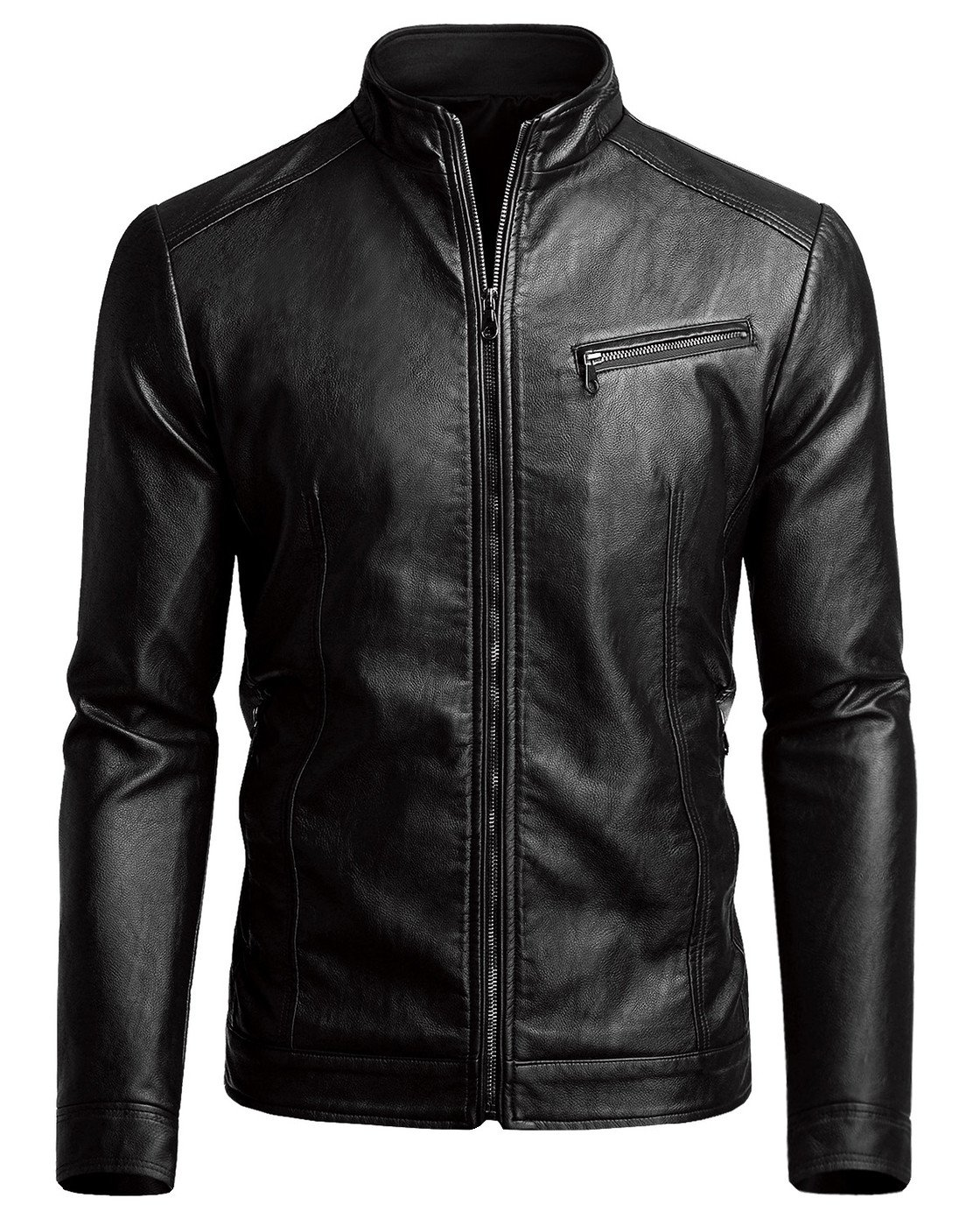 Fairylinks Men's Casual Faux Leather Jacket, Black, Large by Fairylinks