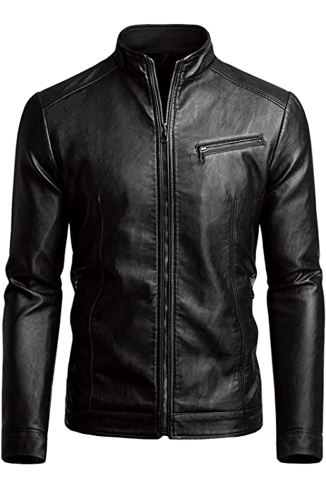 Uni-fashion Mens Vintage zipper Stand Collar Pu Leather Jacket