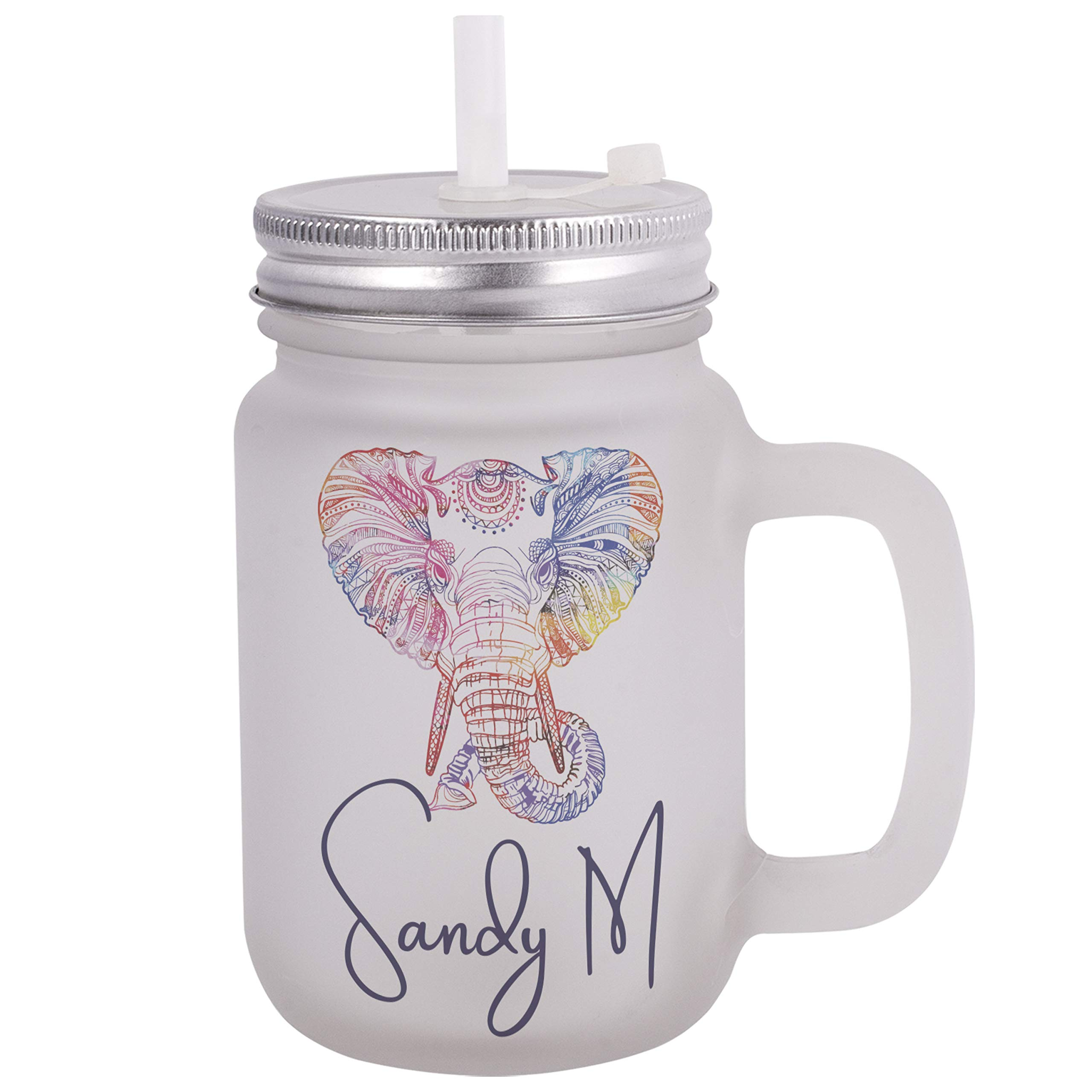 Personalized Gifts Colorful Elephant Coffee Mug - 12oz Frosted Mason Jar Coffee Mug with Lid and Straw -Birthday Gifts, Christmas Gifts, Mother's Day Gifts, Father's Day Gifts, Funny Mug for Kids