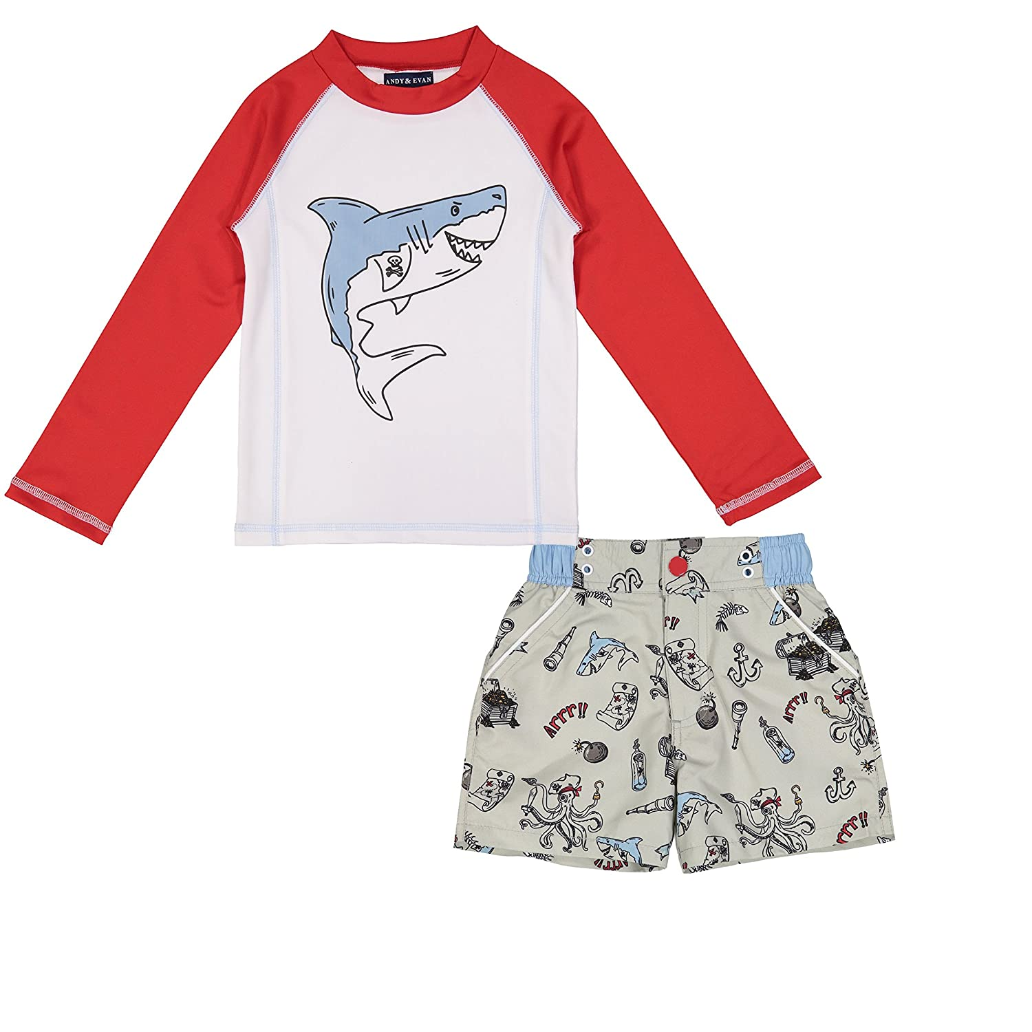 d66ca8ccfd Amazon.com: Andy & Evan Infant, Toddler & Boys 50 UPF Protection Rashguard  Top or Set: Clothing