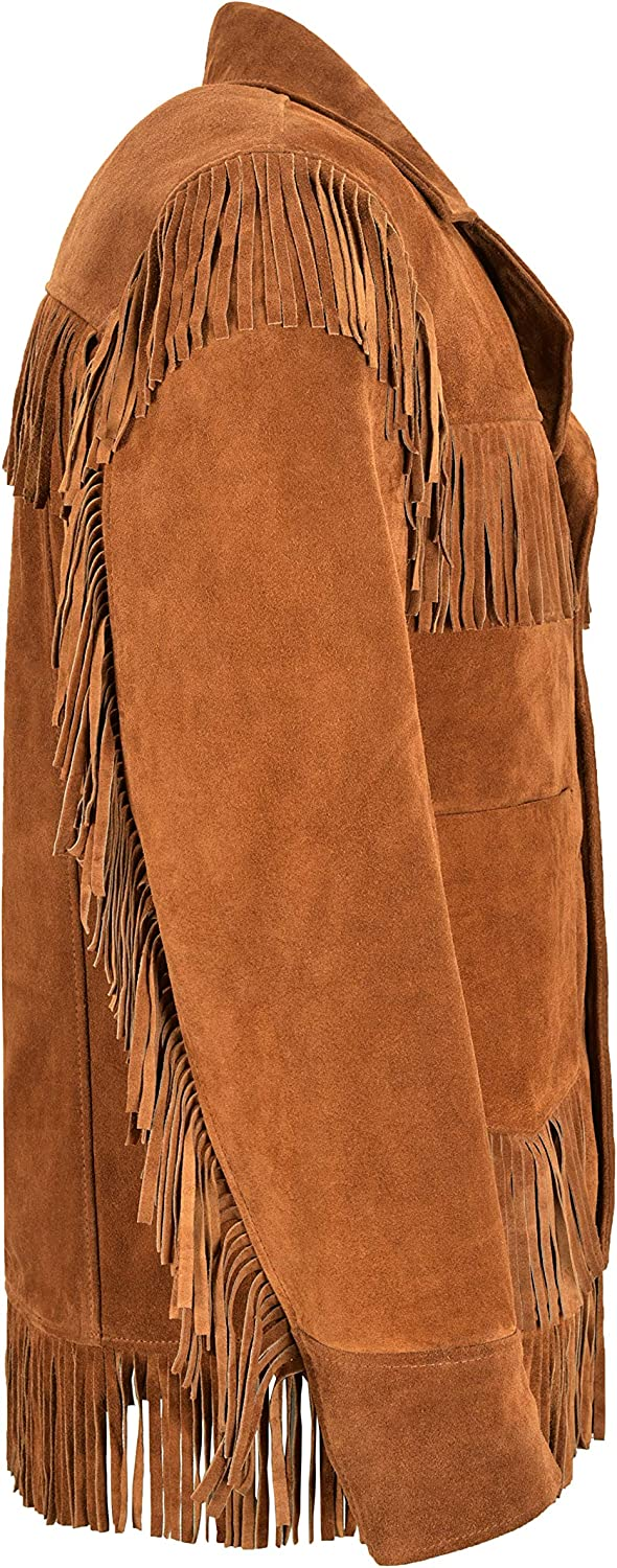 Mens Western Fringe Leather Jacket Tan Classic Fringe Real Suede Jacket 4198