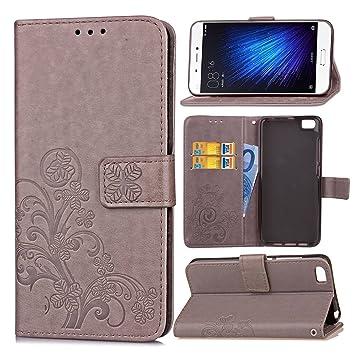 Guran Funda de Cuero PU para Xiaomi Mi5 Smartphone Función de Soporte con Ranura para Tarjetas Flip Case Trébol de la suerte en Relieve Patrón Cover: Amazon.es: Electrónica