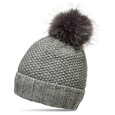 d64eb615f80e18 CASPAR MU173 Damen Winter Mütze Strickmütze Bommelmütze mit großem  Fellbommel, Farbe:grau;Größe