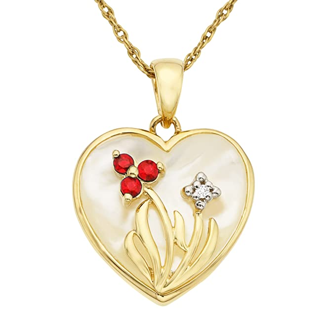 Natural Mother-of-Pearl Heart Pendant Necklace with Rubies and Diamonds in 10K Gold