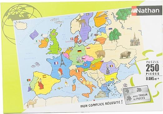 Nathan 86934- Puzzle Infantil del Mapa de Europa (250 Piezas): Amazon.es: Juguetes y juegos
