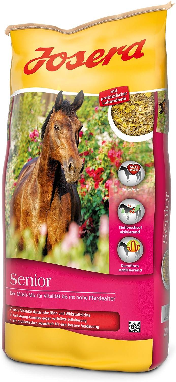 JOSERA Senior (1 x 20 kg) | Comida prémium para Caballos con Complejo antiedad | sin Avena | Cereales para Caballos Mayores | 1 Unidad