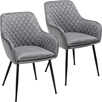 Amazon Com Yaheetech Dining Chairs Armchairs Velvet Upholstered Side Chairs Modern Chairs With Steel Legs And Backrest For Kitchen Dining Room Living Room Set Of 2 Gray Chairs